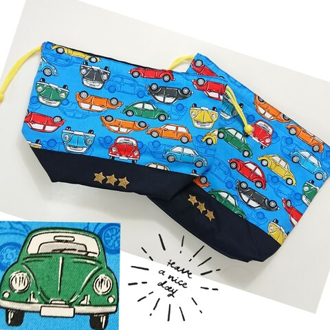 送料無料◆お弁当袋と巾着(中)セット 車(カラフル)