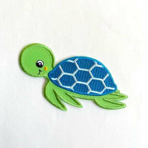 【大きい】カメ アップリケ (PM-Sea Turtle)