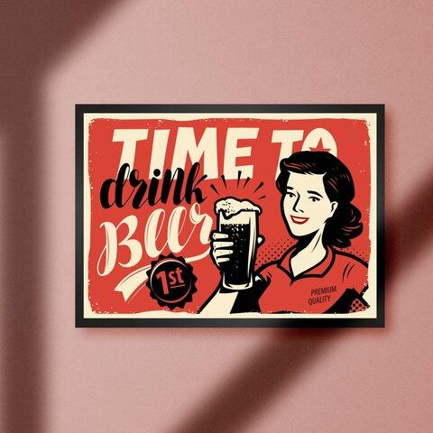 アメリカン オールド レトロ ビール パブ バー スナック ポップアート カフェ A4アートポスター