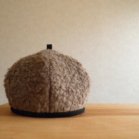 ブークレーニットのベレー帽 カフェモカ