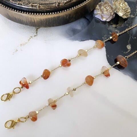 天然石オレンジmix。サージカルステンレスチェーン。マスクチェーン。メガネチェーン、ネックレスにもなる3way。お食事の際のマスク保管に。