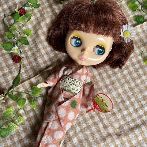 ♡浴衣(ピンク×カーキ)♡ブライス、リカちゃんサイズ