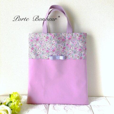 女の子の優しい小花柄の縦長音楽バッグ[ライラック]移動教室バッグ
