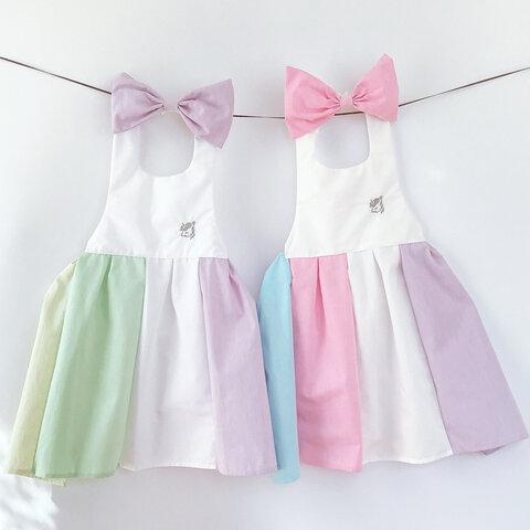 入園入学 名入れ ゆめかわ❤︎ドレスエプロン キッズ用 女の子 おしゃれな切り替えカラー100-120cm