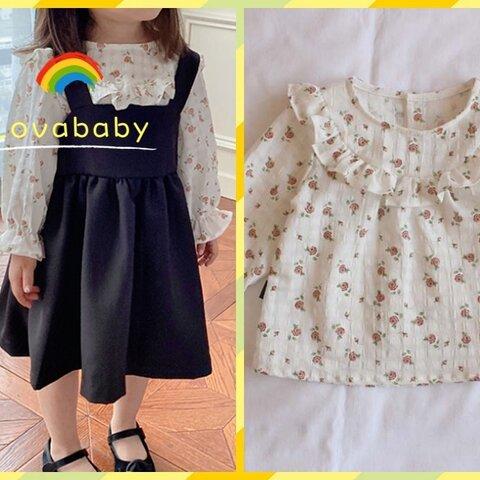 【73㎝‐120㎝】可愛い花柄シャツ  長袖ブラウス コットン100% 女の子/赤ちゃん