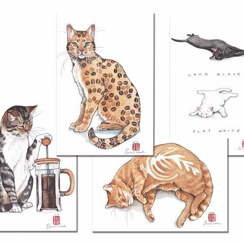 「コーヒー猫」ポストカードセット