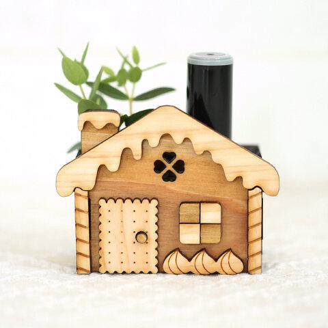 お菓子の家の木製ハンコスタンド