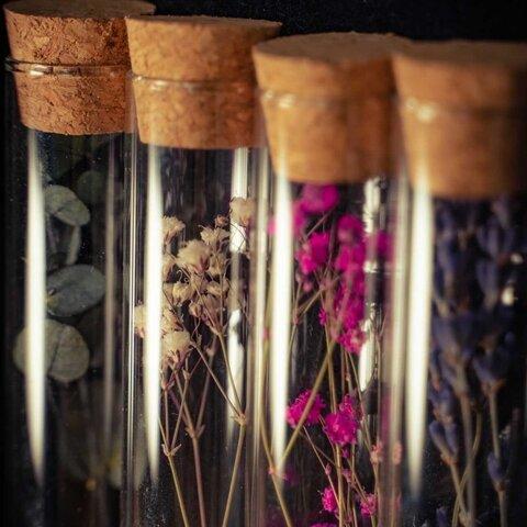 ドライフラワーのコルクガラス~お好きなお花で作ります~
