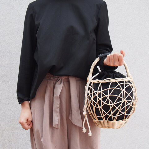 [再販] kago  エッグ ・黒    (カゴ+リネン巾着+レザーハンドル)