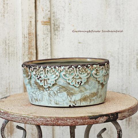 ガーデニング雑貨 おしゃれ アンティーク調陶器鉢 アイシー・ターコイズオーバルポット