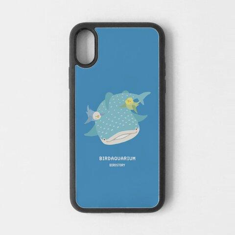 スマートフォンケース(BIRDAQUARIUM / セキセイインコ&ジンベエザメ)
