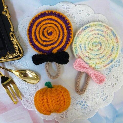 ♠Halloween♠かぼちゃとキャンディーのアクリルタワシ3点セット GH162