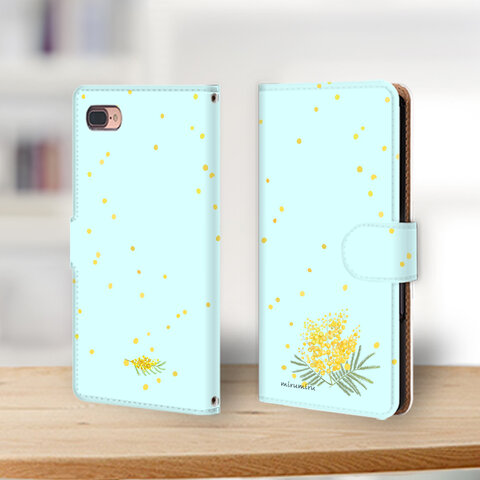 【新作】ミモザで大人可愛い春 miru01-230 iPhoneケース androidケース 手帳型ケース iPhone11