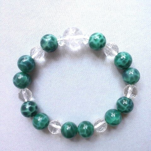 ヒマラヤ水晶&グリーンドラゴンアゲート(緑龍紋瑪瑙 )のブレスレット