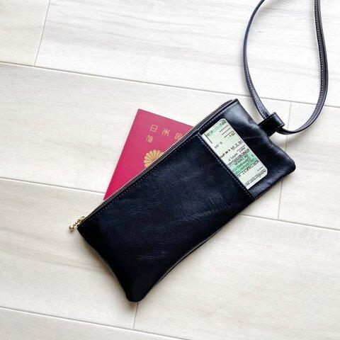 チケットホルダー パスポート ポーチ ストラップ 付き 本革 ブラック