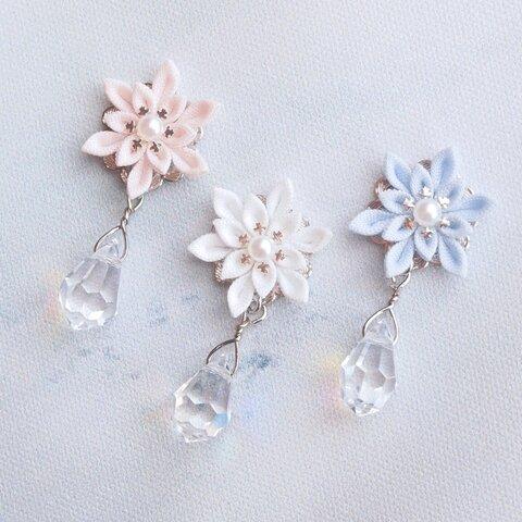 【特集掲載】雪の結晶としずくのイヤリング *つまみ細工*