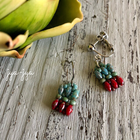 twin beads earrings - turquoise red