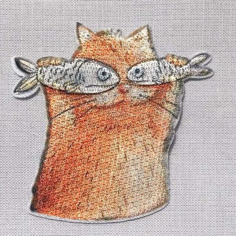 アップリケワッペン 魚を持った猫ちゃん MQ 2028 キャット フィッシュ