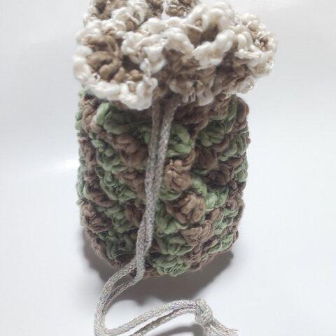 手編みの巾着小(グリーン×ブラウン×ホワイト)