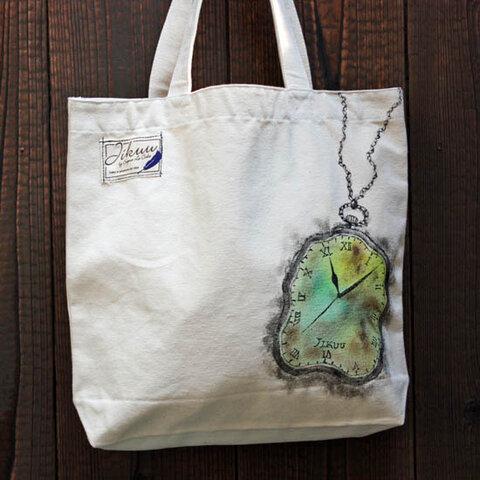 【JIKUU BY SLC】 手描き友禅/内ポケット付きキャンバストートバッグ『懐中時計』