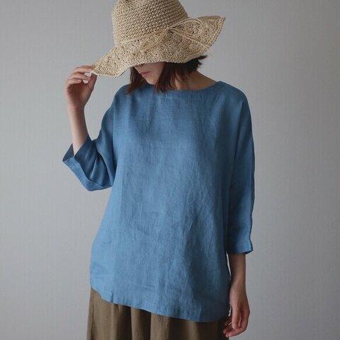 シンプル リネン ブラウス 大人かわいい 秋 ナチュラル 麻 体型カバー 袖あり T109-F-BL