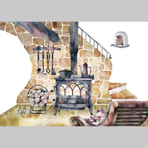 「薪ストーブのある風景」 薪ストーブ ネコ  イラスト