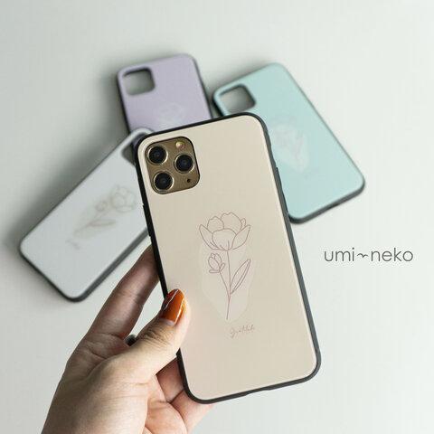 多機種対応 スマホケース ガラス 【 韓国flower 】 ニュアンスカラー 韓国 花 iPhone Xperia android JI65U