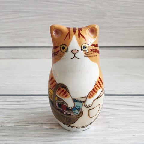 お買い物ネコさんのミニマトリョーシカ(茶白)
