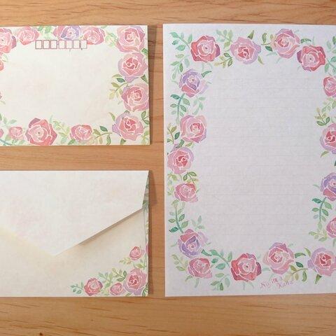 薔薇のレターセット*和紙