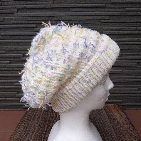 ニット帽  手編み  ホワイト