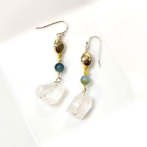 マーメイドピアス・ 本水晶とカルセドニー Mermaid Pierce rock crystal chalcedony