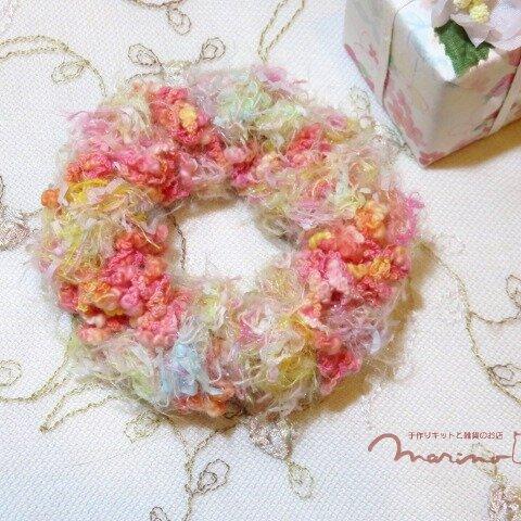 手染め糸のドーナツみたいなかわいいシュシュ [chu1010PK]