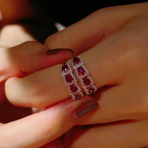 天然ダイヤモンド付きルビーリングk18