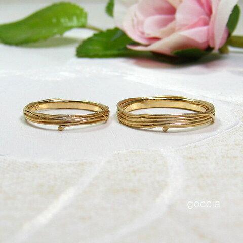 つる植物のデザイン、結婚指輪(ゴールド製)/ 蔓(5-7)