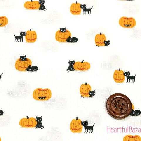 USAコットン(110×50) moda GHOULS AND GOODIES かぼちゃとねこ 生地 布