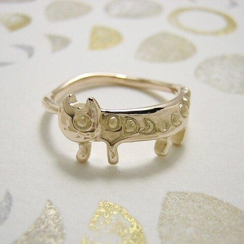 金の月から来たステネコくん ( 猫 ねこ ネコ 指輪 リング K10 10K ゴールド 刻印 文字入れ 名入れ ギフト )