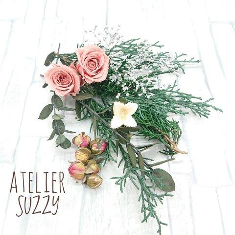 プリザーブドフラワー 花材セット クリスマスグリーン2021(バラ入り)