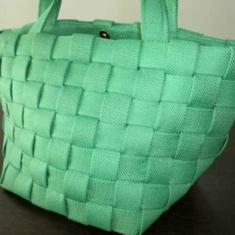 オリジナル✿緑×緑の編み込みトートバッグ大