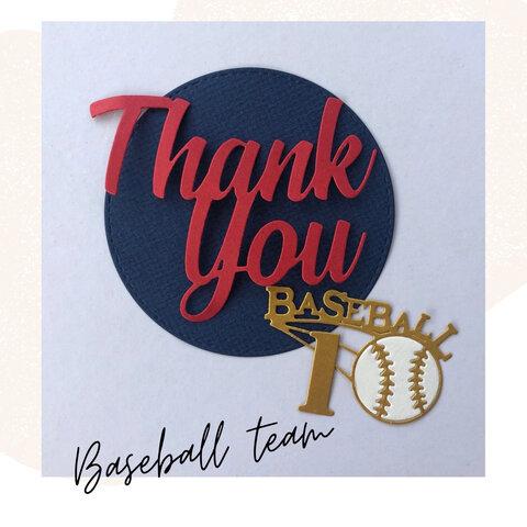 ベースボールダイカット レッド×ネイビー 野球部色紙 部活色紙