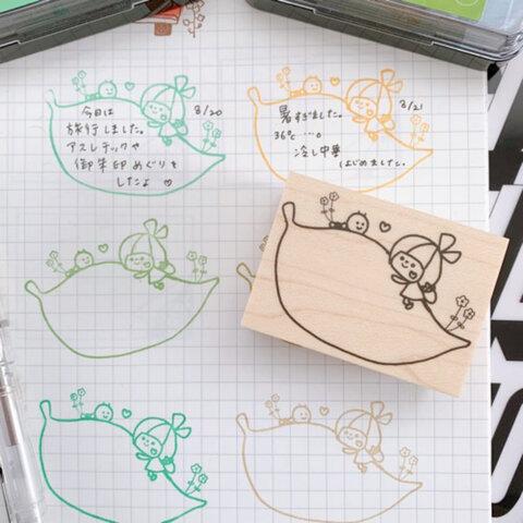 LOFTソラマチ先行販売品!リボンちゃんとアオムシ君の葉っぱメモスタンプ