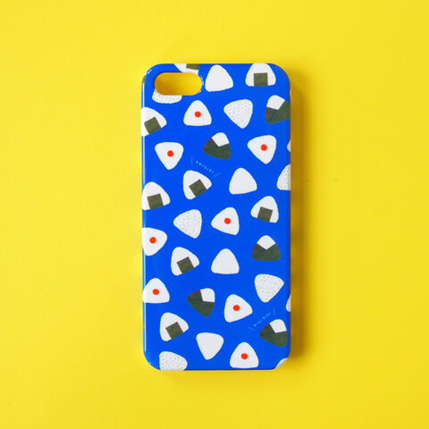 おにぎりころころiPhoneスマホケース(ブルー)【受注生産】