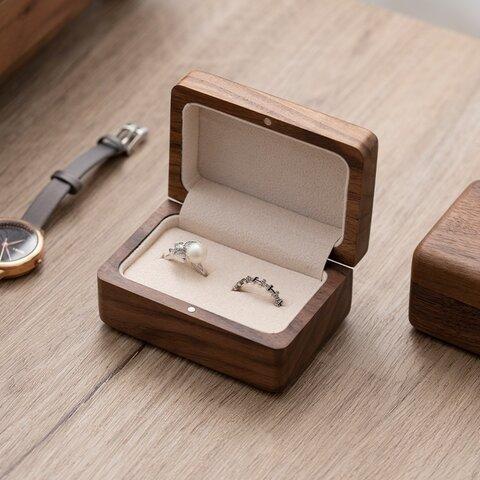『彫刻名入れ無料』チェリー&ウオルナットウッド シンプルデザインの木製指輪入れ 指輪ケース リングケース