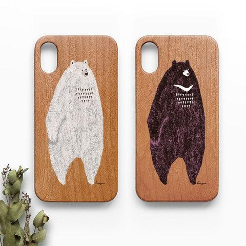 だらりとした動物たちの木製スマホケースG:iPhone専用【受注生産:お届け約2週間】