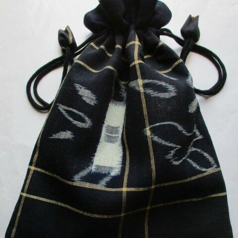 5902 絵絣と男絣で作った巾着袋 #送料無料