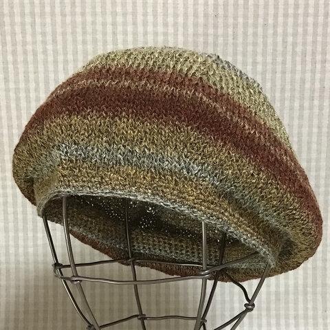 新作✨オータムカラーの杢調ミックスヤーンで編んだシンプルフォルムのベレー帽B