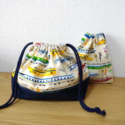 【再販】新幹線とデニムのお弁当袋&コップ袋セット