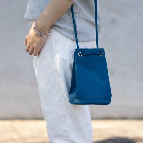 2way巾着バッグ ブルー