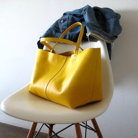 Mサイズ karashi 本革製  トートバッグ