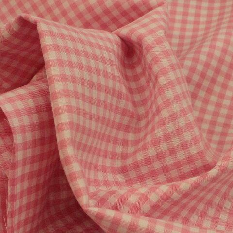 ギンガムチェック #201 ピンク色、110㎝幅×50㎝