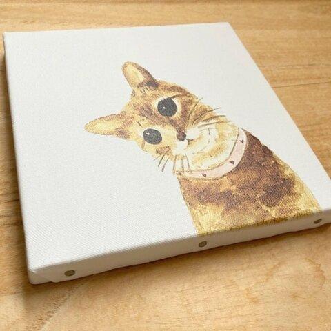 コーヒーで描いています『やさしい気持ちに』 キャンバス プリント 猫 ねこ ペット コーヒー  絵 イラスト 絵画 水彩画  壁掛け アート パネル インテリア 複製画
